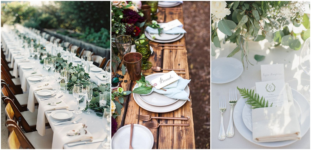 wedding and party table settings. basic crockery and cutlery for weddings and events. Dinner service, glassware, tableware, crockery and cutlery.
