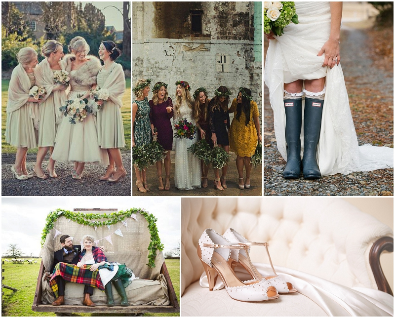 autumn inspiration, autumn weddings, umbrellas, wellington boots, leather wedding shoes, blankets, pashminas