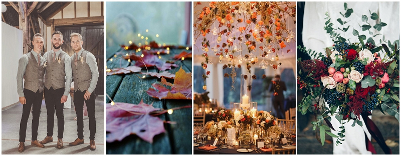 autumn colours, berries, leaves, fir cones, open fires, fairy lights, candles, mulled cider