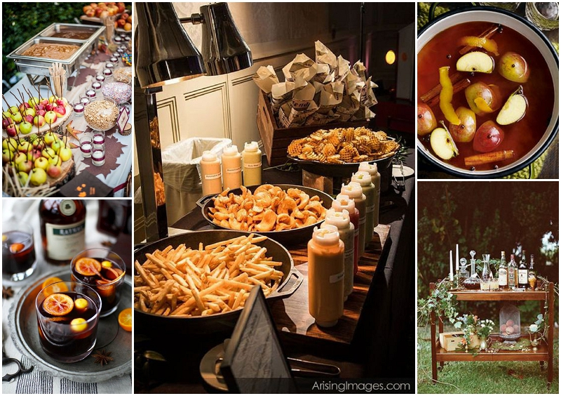 Autumn wedding food, bowl food, comfort food, mulled cider, warm drinks