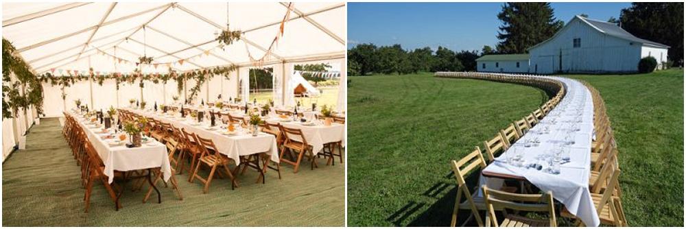 trestle tables, folding chairs, event hire, furniture hire, Devon